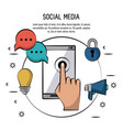 colorful poster of social media with smartphone in vector image vector image