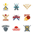 cricket sport ball bat logo icons set flat style vector image