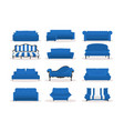 different blue leather luxury office sofa vector image vector image