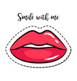 fashion patch element pink lips vector image