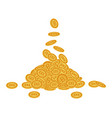 flat bitcoin golden coins falling set vector image
