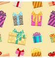 Gift boxes with ribbon bows seamless pattern vector image vector image