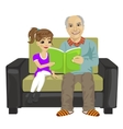 grandfather and granddaughter sitting reading book vector image
