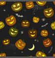 halloween pattern pumpkins and spiders horror vector image