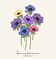 hand drawn spring flowers blue pink and violet vector image vector image