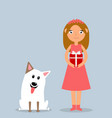 happy little girl and dog at christmas vector image
