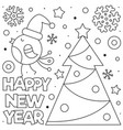happy new year coloring page black and white vector image vector image