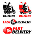 logotypes set for fast delivery food or parcel vector image
