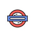 london underground metro train flat color line vector image vector image