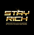 luxury emblem stay rich premium gold alphabet vector image