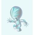 Metallic silver robot with green detailsbig head vector image vector image