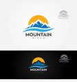 mountain river logo vector image vector image