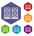 Music speakers icons set vector image vector image