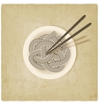 noodles on plate old background vector image vector image
