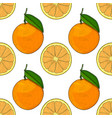orange whole and slice hand drawn colored sketch vector image vector image