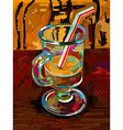 original digital painting of glass of coffee vector image