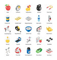 pack fitness isometric icons vector image