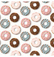pattern with glazed donuts on white vector image vector image