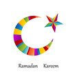 ramadan kareem moon with star colorful islamic vector image