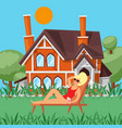relax day woman taking sun bath outdoors leisure vector image vector image