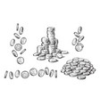 set of coins in different positions in sketch vector image vector image