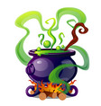 steel cauldron with boiling green magic potion vector image