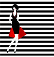 stripped background fashion girl vector image vector image