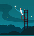 successful businessman reaching star man climbing vector image vector image