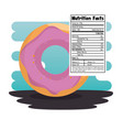 sweet donut with nutrition facts vector image vector image