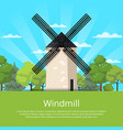 traditional stony old windmill on nature vector image