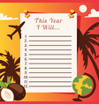 travel list planner with with palm trees coconuts vector image vector image