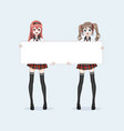 two japanese asian woman hold a white billboard vector image vector image
