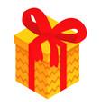 yellow gift box icon isometric style vector image
