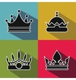 Black crown icons with long shadow on color vector image