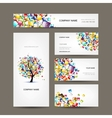 Business cards collection with web tree design vector image