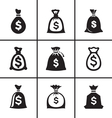 Money bags icon set vector image