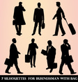 7 Silhouettes for businessman with bag vector image