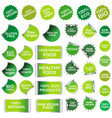 healthy food and natural product stickers and vector image