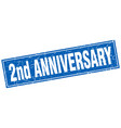 2nd anniversary square stamp vector image vector image