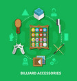 billiard accessories round composition vector image vector image