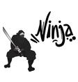 black ninja draw vector image vector image