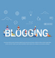 blogging concept of young people using laptops and vector image