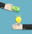 Businessman hand exchanging idea and money to each vector image