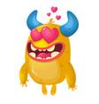 cartoon yellow horned monster in love vector image vector image