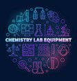 chemistry lab equipment colored line round vector image vector image