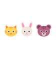 cute cat hare bear faces in vector image