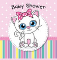 cute cat with a pink bow vector image vector image