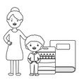 cute little student boy with female teacher and vector image vector image