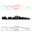 Doha skyline linear style with rainbow vector image vector image