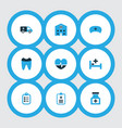 drug icons colored set with building remedy vector image vector image